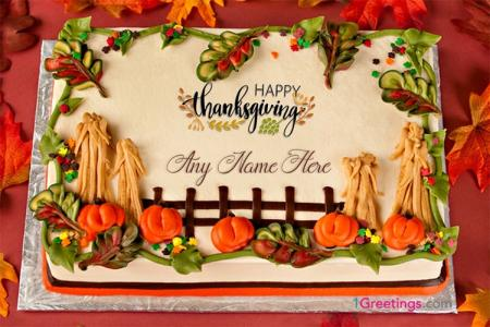 Happy Thanksgiving Cakes With Name Generator