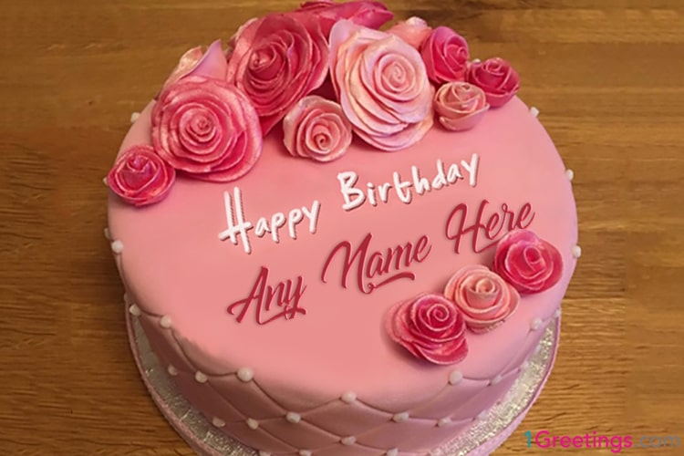 [Free] Pink Rose Birthday Cake Images With Name Edit